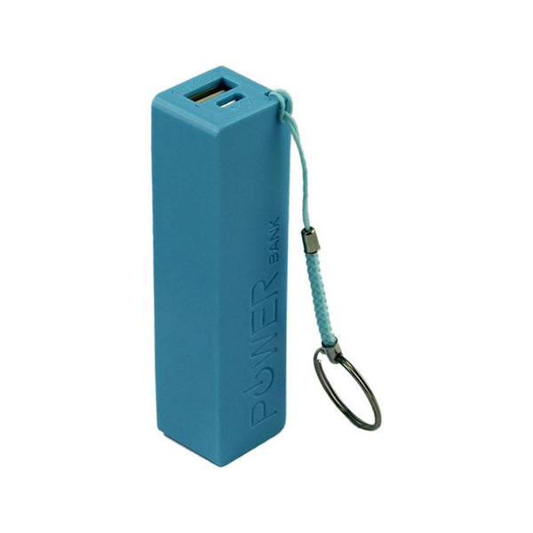 Blue Portable Power Bank with Keychain
