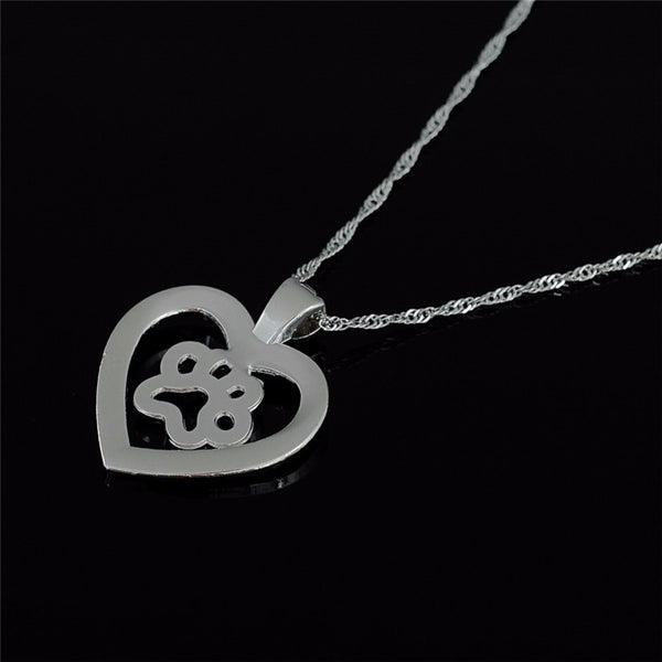 Paw Print Crystals Heart Necklace