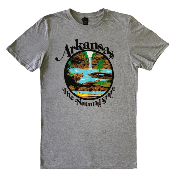 Arkansas Retro Natural State T-Shirt / Heather Grey