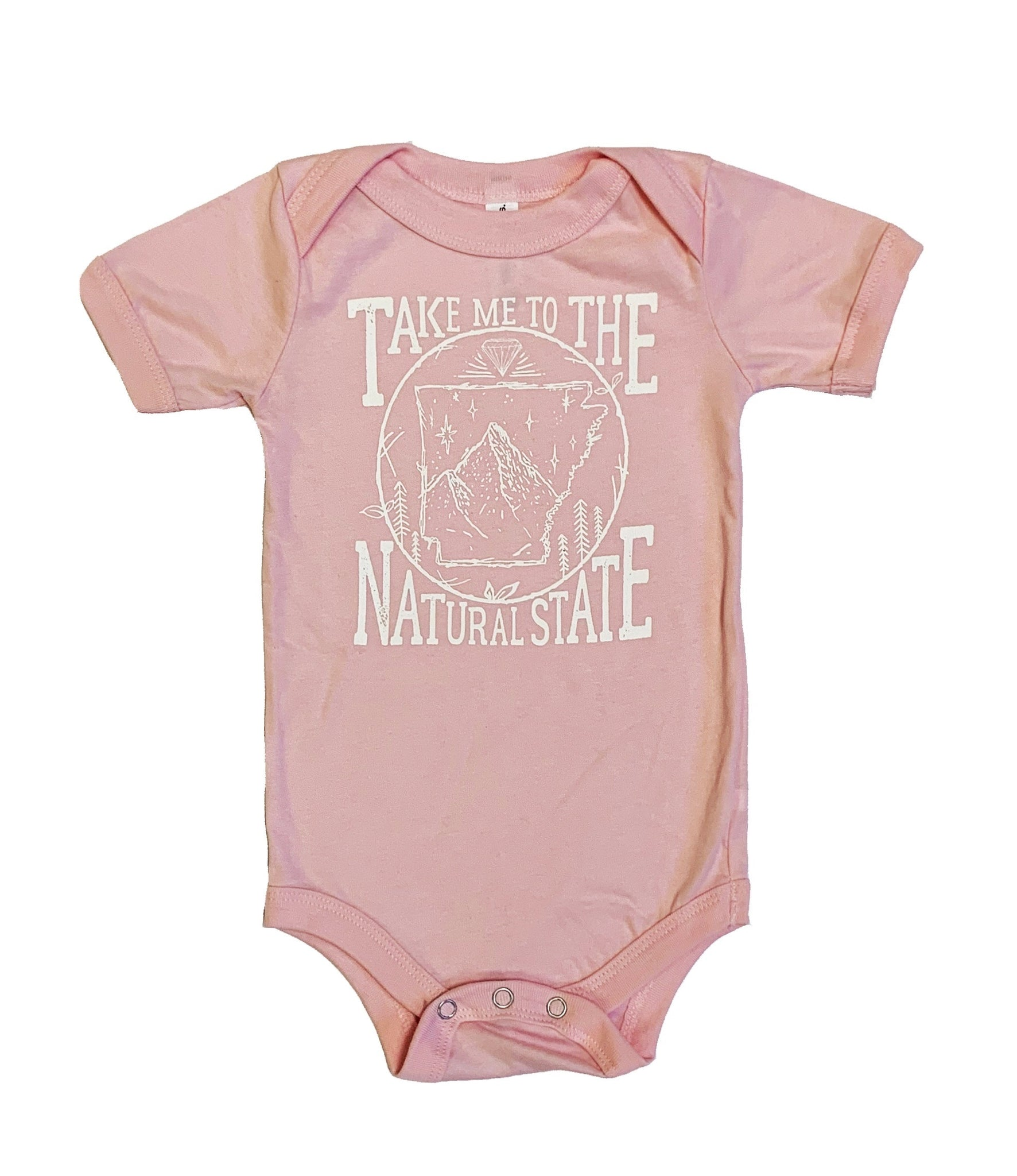 Take Me To The Natural State Pink Onesie
