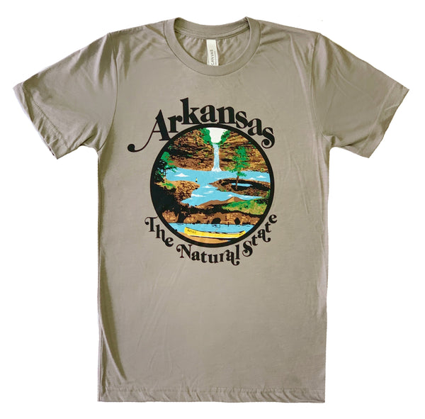 Arkansas Retro Natural State T-Shirt / Heather Stone