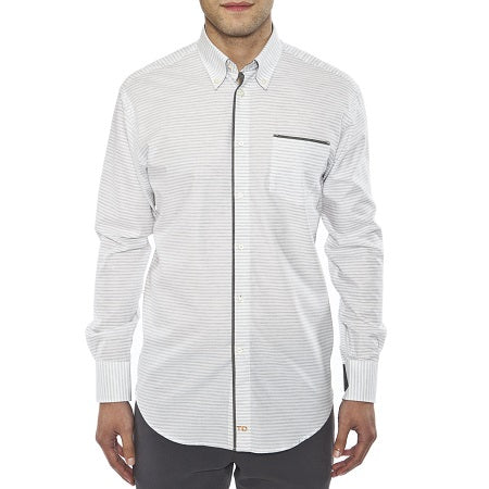 TD Charcoal Horizontal Stripe Sport Shirt with Pocket - Untucked