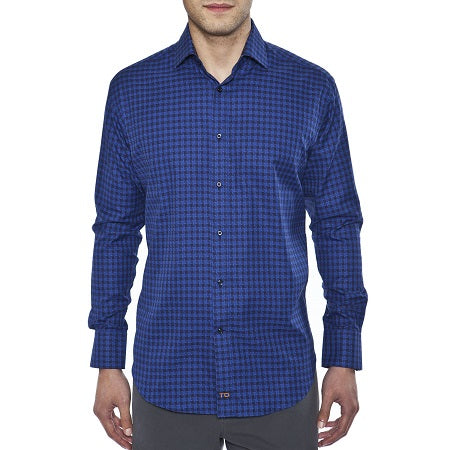 TD Cobalt Herringbone Plaid Sport Shirt - Untucked