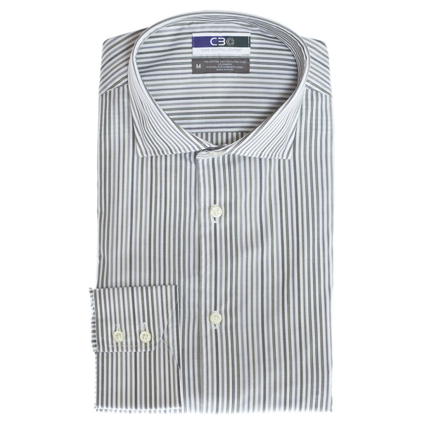 C3 Olive Bengal Stripe Performance Sport Shirt - Thomas Dean & Co