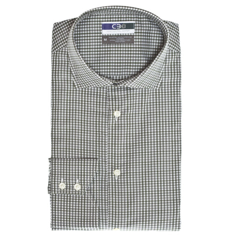 C3 Olive Check Performance Sport Shirt - Thomas Dean & Co