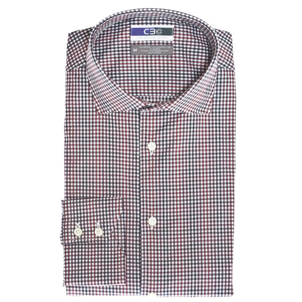 C3 Wine Check Performance Sport Shirt - Thomas Dean & Co