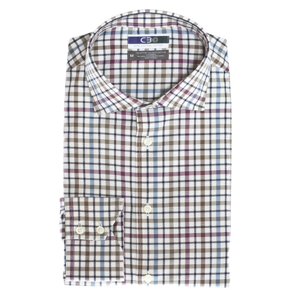 C3 Purple Check Performance Sport Shirt - Thomas Dean & Co