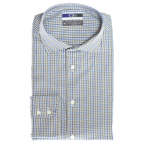C3 Olive Dobby Check Performance Sport Shirt - Thomas Dean & Co