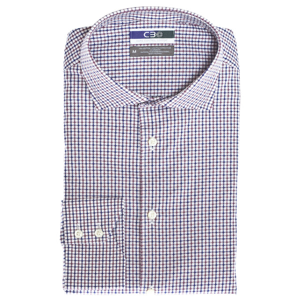 C3 Pink Dobby Check Performance Sport Shirt - Thomas Dean & Co