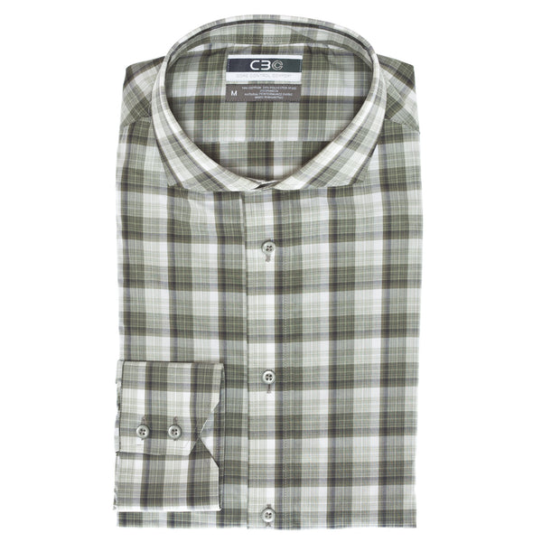 C3 Olive Heather Plaid Performance Sport Shirt - Thomas Dean & Co