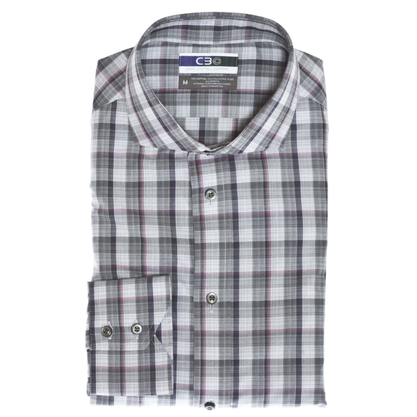 C3 Purple Heather Plaid Performance Sport Shirt - Thomas Dean & Co