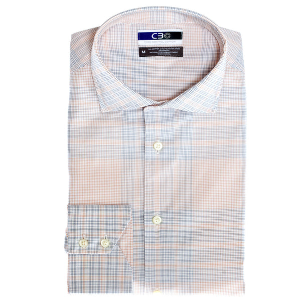 C3 Orange Graph Check Performance Sport Shirt - Thomas Dean & Co