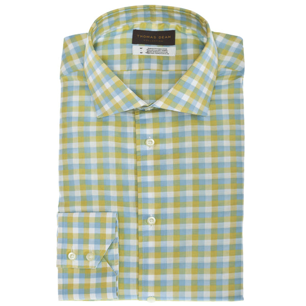 TD Collection Yellow Check Button Down Sport Shirt