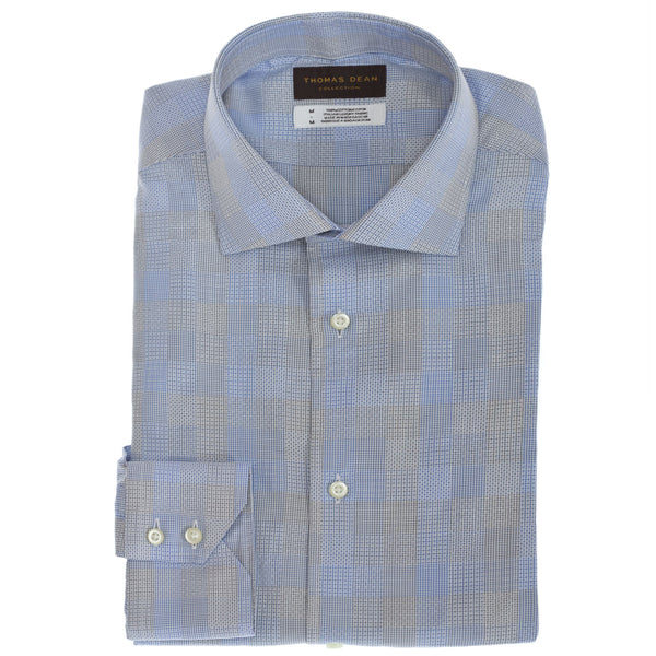 TD Collection Blue Check Button Down Sport Shirt