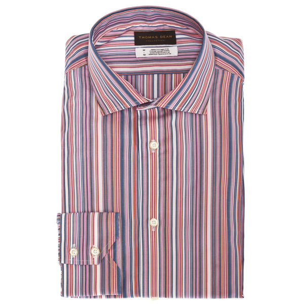 TD Collection Orange Multi Stripe Button Down Sport Shirt - Thomas Dean & Co