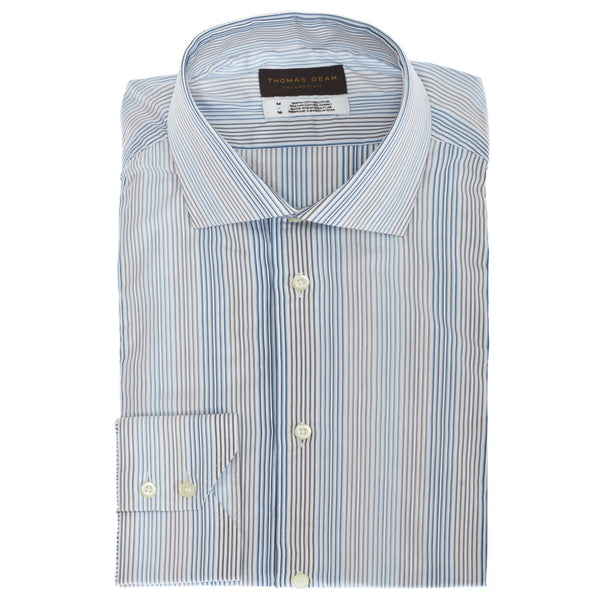 TD Collection Blue Stripe Button Down Sport Shirt - Thomas Dean & Co