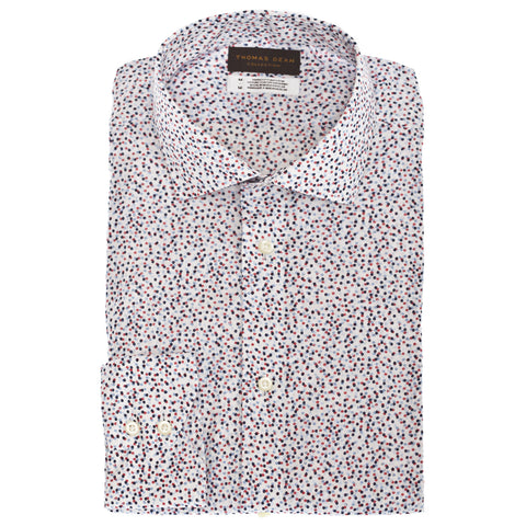 TD Collection Blue Mini Print Button Down Sport Shirt