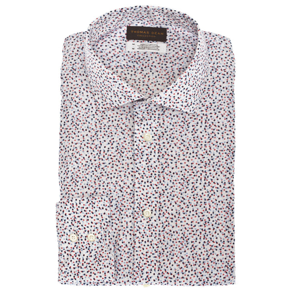 TD Collection Blue Mini Print Button Down Sport Shirt - Thomas Dean & Co