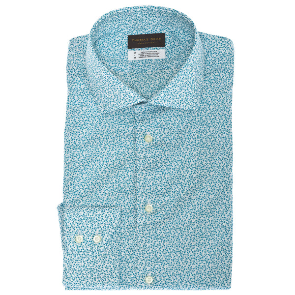 TD Collection Green Micro Print Button Down Sport Shirt - Thomas Dean & Co