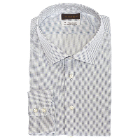 Big & Tall TD Collection Light Blue Mini Print Button Down Sport Shirt - Thomas Dean & Co