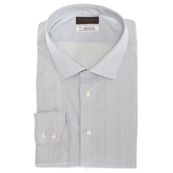 TD Collection Light Blue Mini Print Button Down Sport Shirt - Thomas Dean & Co