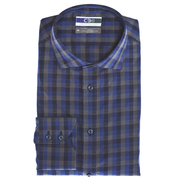 C3 Blue Dobby Check Performance Sport Shirt - Thomas Dean & Co