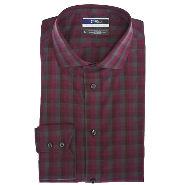 C3 Dark Pink Dobby Check Performance Sport Shirt - Thomas Dean & Co