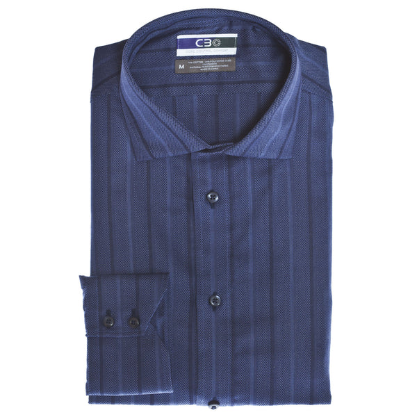 C3 Blue Textured Stripe Performance Sport Shirt - Thomas Dean & Co