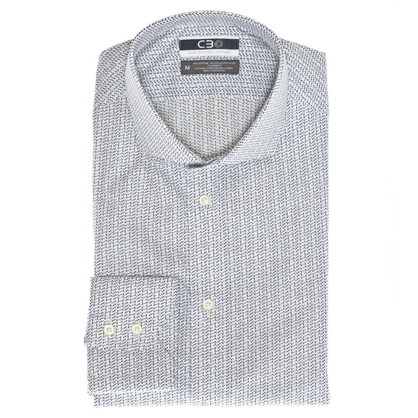 C3 White Triangle Print Performance Sport Shirt - Thomas Dean & Co