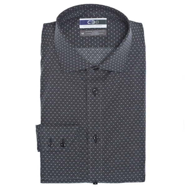 C3 Black Triangle Print Performance Sport Shirt - Thomas Dean & Co