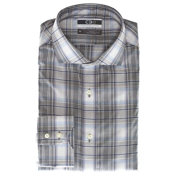 Purple Plaid Core Control Comfort Collar Sport Shirt