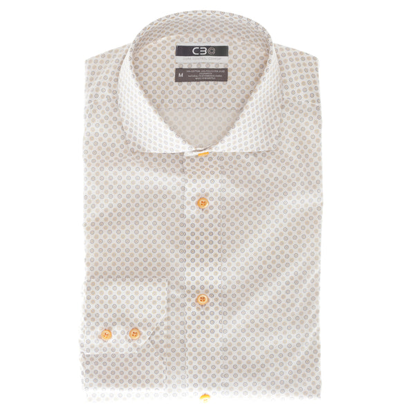Orange Print Core Control Comfort Collar Sport Shirt