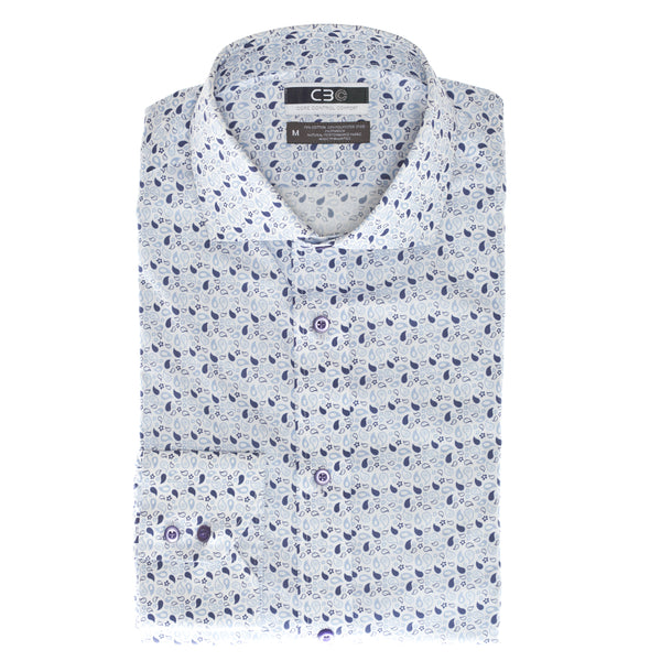 Purple Print Core Control Comfort Collar Sport Shirt