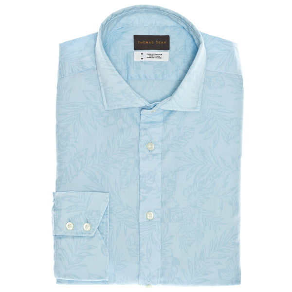 Aqua Solid Print Sport Shirt - Thomas Dean & Co