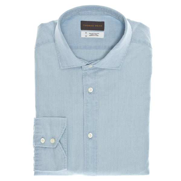 Chambray Solid Sport Shirt - Thomas Dean & Co