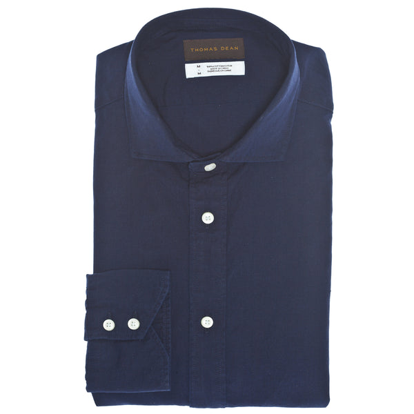 Indigo Solid Sport Shirt - Thomas Dean & Co