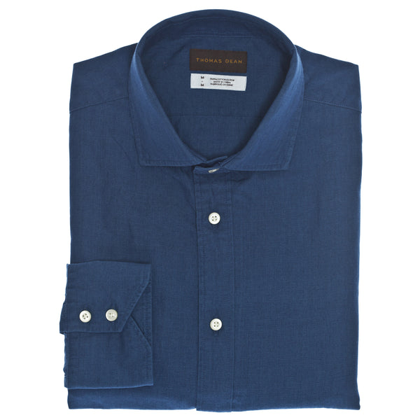 Medium Blue Solid Sport Shirt - Thomas Dean & Co