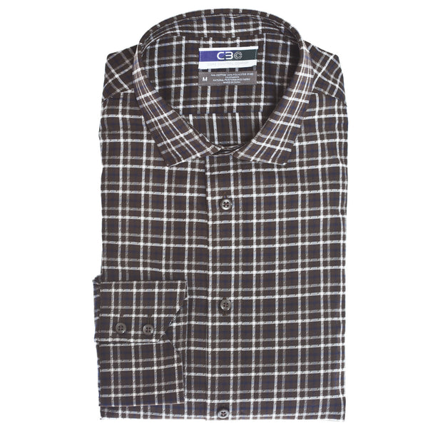 C3 Brown Dobby Check Performance Sport Shirt - Thomas Dean & Co