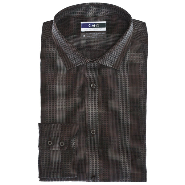 C3 Brown Multi Plaid Performance Sport Shirt - Thomas Dean & Co