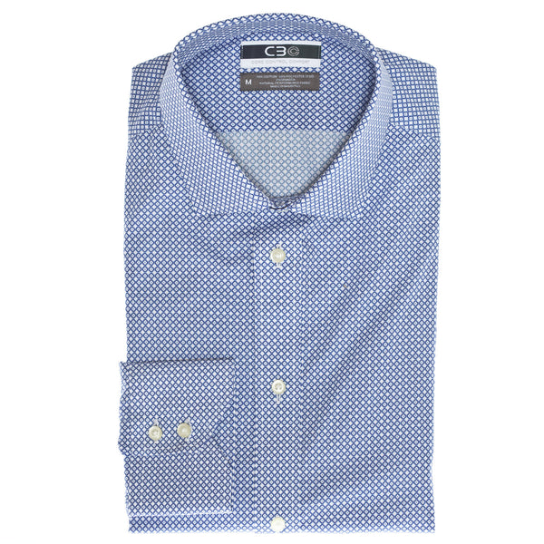 C3 Blue Geo Print Performance Sport Shirt - Thomas Dean & Co