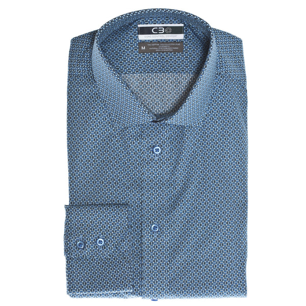 C3 Blue Circle Print Performance Sport Shirt - Thomas Dean & Co