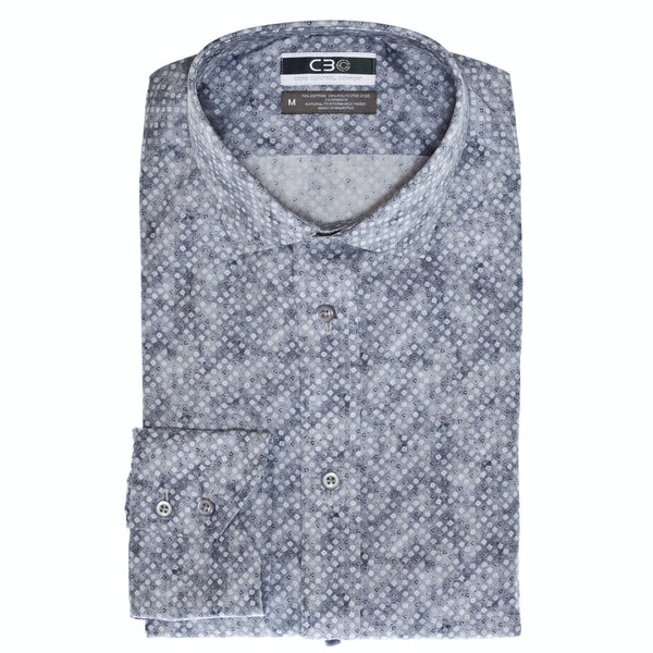 C3 Charcoal Square Print Performance Sport Shirt - Thomas Dean & Co