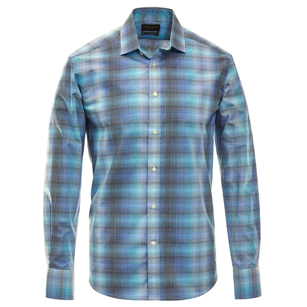 Blue Check Performance Sport Shirt - Thomas Dean & Co