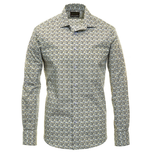 Olive Print Performance Sport Shirt - Thomas Dean & Co