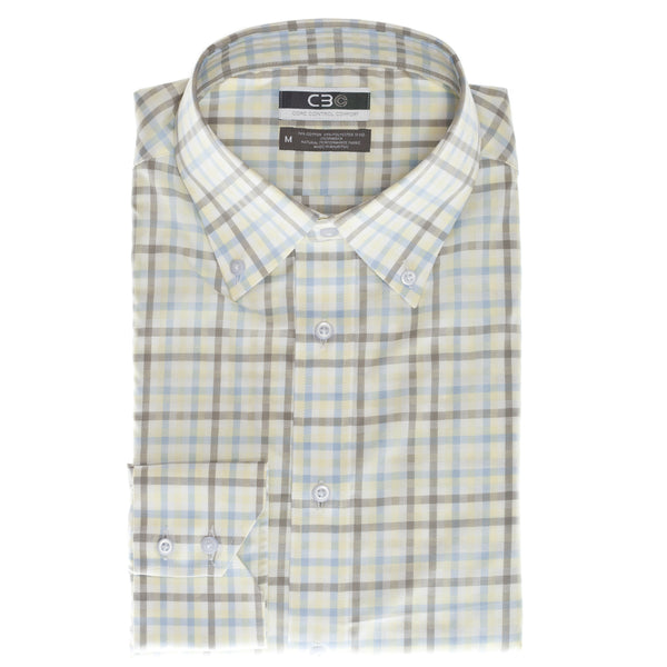 Yellow Check Core Control Comfort Button Down Collar Sport Shirt