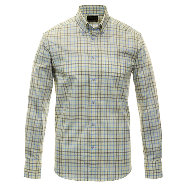 Yellow Check Performance Sport Shirt - Thomas Dean & Co