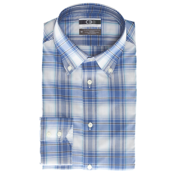 Blue Plaid Core Control Comfort Button Down Collar Sport Shirt