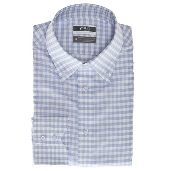 Purple Gingham Core Control Comfort Button Down Collar Sport Shirt