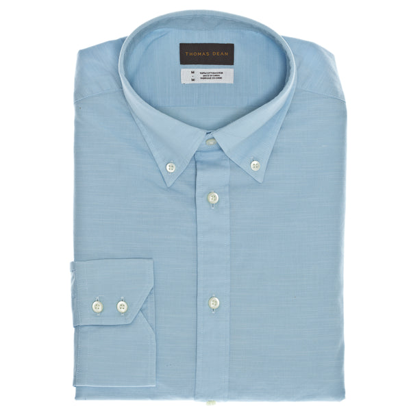 Aqua Solid Sport Shirt - Thomas Dean & Co