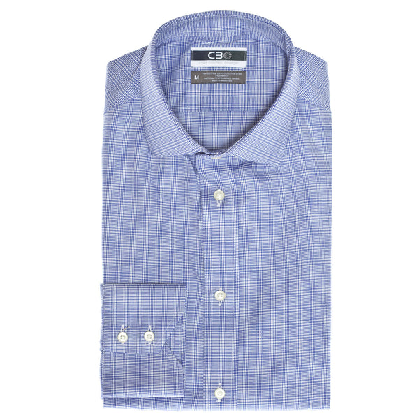 C3 Blue Check Performance Sport Shirt - Thomas Dean & Co